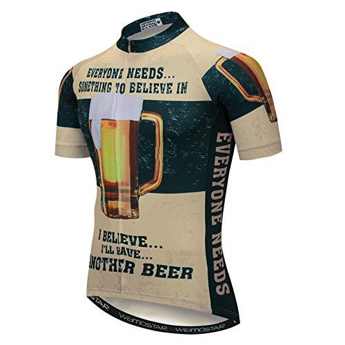 Weimostar Herren Radtrikot MTB Bike Outdoor Sportbekleidung Bier Dunkelgrün L