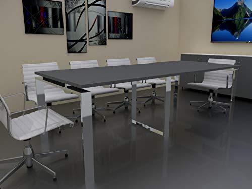 Mesa de Reuniones con Estructura Abierta, Pata Retranqueada, de 240x100cm. FABRICACIÓN Nacional. Entrega de 3 a 7 dias. (Tablero Gris Grafito, Estructura Efecto Cromo) 🔥