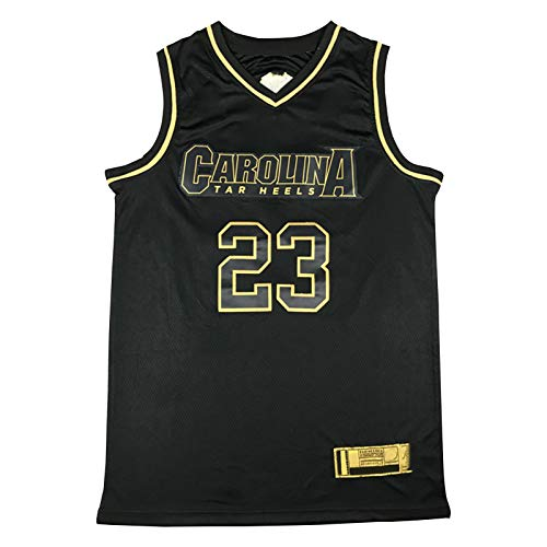 QPY Jordan # 23 toros Jersey Carolina del Norte Negro Oro Baloncesto, Nueva Tela de tamaño estándar sin desvanecimiento Transpirable y cómodo, sin Mangas Ropa de Entrena M