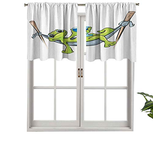 Hiiiman Indoor Home Curtain Valance Panel Bohemian Frog Prince on Hammock with Wine Little Mascot Relax, Set of 1, 36'x18' for Bathroom and Cafe
