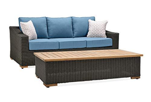 La-Z-Boy Outdoor ANWB CT Patio Sofa Set, Coffee Table, Denim Blue