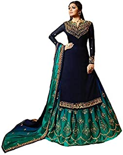 Women's Satin Georgette Fabric Embroidered and Diamond Work Sharara Suit (LNF359, Blue, 46)