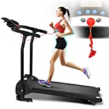 Smart 2HP Electric Folding Treadmill, 3 Levels Manual Incline Fitness Motorized Running Jogging Exercise Machinewith W/PAD Holder, Hand Grip Pulse Sensor for Home Gym Cardio Workout Training Indoor