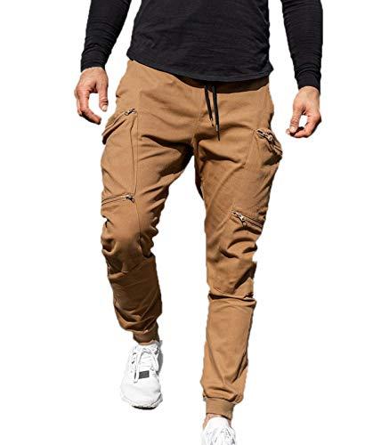 babao Pantalones Ajustados con cordón para Hombre Pantalones de chándal Ajustados Casuales Pantalones Deportivos con Bolsillos