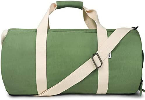 Oflamn Sports Duffle Bag Classic Canvas Round Shaped Large Capacity Gym Bag with Built in Waterproof product image