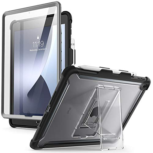 i-Blason Ares Case for New iPad 8th/7th Generation, iPad 10.2 2020/2019 Case, Full-Body Kickstand with Built-in Screen Protector Cover with Pencil Holder (Black)
