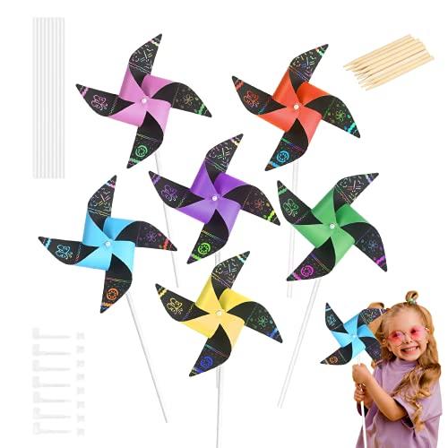 MEZOOM 24 piezas Molinillos de Viento Scratch Art para Niños Molino de Viento de Papel Juguetes Infantiles al Aire Libre para Decorar Jardin Actividad Manual Jardín de Infancia Premio Regalo
