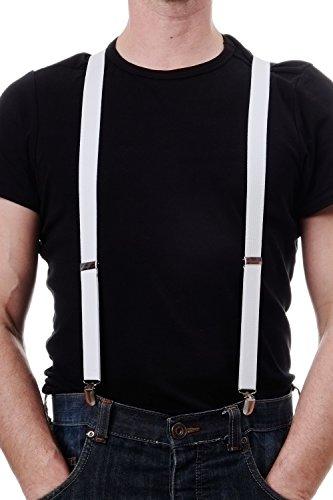 Dress Me Up - Halloween Karneval Hosenträger Suspenders Weiß 20er 30er Jahre Mafia Don W-061W-White