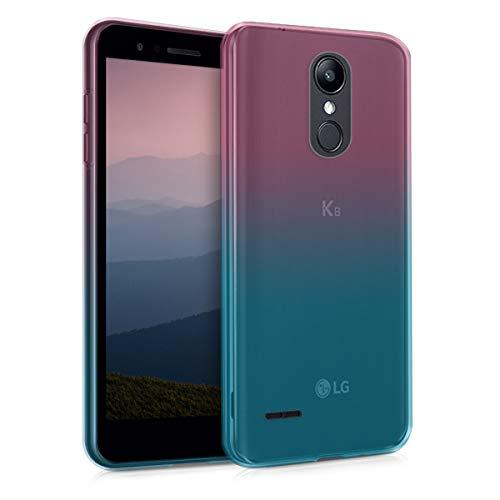 kwmobile Funda Compatible con LG K8 (2018) / K9 - Carcasa de TPU y Bicolor en Rosa Fucsia/Azul/Transparente