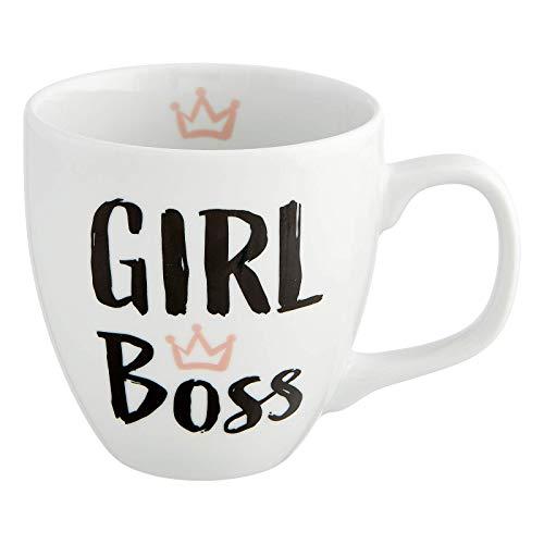 Him & I - Taza jumbo con texto Girl Boss – 9,5 cm – 0,45 L – Taza de porcelana grande – Taza de café – Idea de regalo para mejor amiga, mamá, hermana, niña, compañera y educador