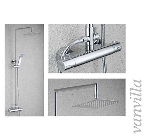 vanvilla Thermostat SEDAL Duschset Duscharmatur mit 20x20cm Edelstahlduschkopf und Handbrause 6683A Duschsystem Duschgarnitur Duschset