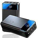 AEU Power Bank 50000Mah Carga Rápida, Batería Externa USB C Cargador Movil Portátil con 3 Entradas Y 3 Salidas Y Pantalla LED Y Linterna Cargador Portatil para Smartphone, Tablet, Y Los Productos 3C