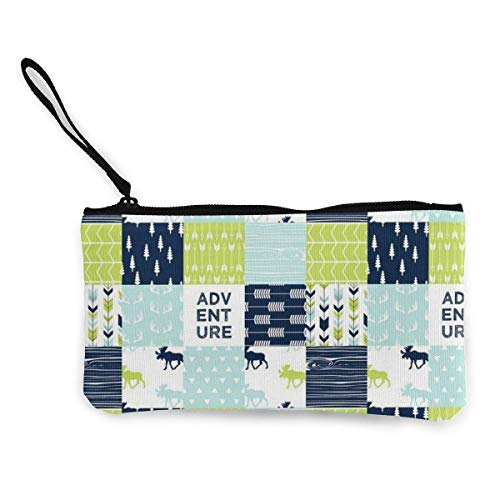 Gpedadf13 Unisex Coin Pouch Bear Creek Patchwork Canvas Coin Purse Cellphone Card Bag with Handle and Zipper
