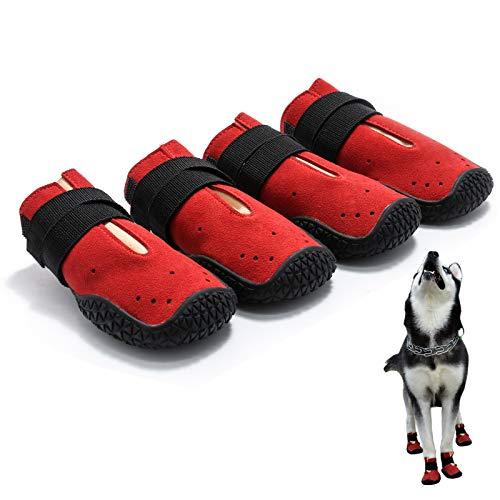 PETSIMTO 4 PCS of Waterproof Non Slip Hot Pavement Dog Booties for Hardwood Floors Dog Boots,Dog Shoes Indoor Outdoor Comfortable 3#