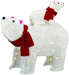 Home Collection Outdoor Christmas Decoration Furry White Lighted Polar Bear Sculpture Display Yard Lawn Garden Sculpture Seasonal Display