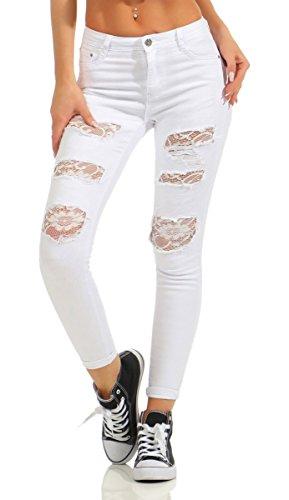 Fashion4Young Fashion4Young 5264 Damen Jeans Hose Röhrenjeans Treggings Leggings Cut-Outs Netz Spitze Slim-fit (weiß, S-36)