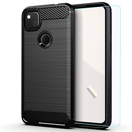 best thin cases for google pixel 4a 5g 2021 Pixel 4a case,with HD Screen Protector,Google 4a case,MAIKEZI Soft TPU Slim Fashion Non-Slip Protective Phone Case Cover for Google Pixel 4a(Black Brushed TPU)