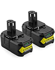 2-pack 18 V 5,0 Ah Li-jon ersättningsbatteri för Ryobi 18 V ONE + P108 P107 P104 P105 P102 P103 verktyg