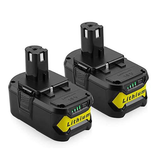 Powilling 2 Stück 5,0Ah 18V Akku Li-ion für Ryobi ONE+ P108 P107 P104 P105 P102 P103 18V Ersatzakku Werkzeuge