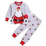 Natale Pigiama Due Pezzi, Inverno Domestico della neonata del Bambino del Ragazzo del Pagliaccetto del Neonato di Natale di Inverno + Pantaloni (5-6 Anni)