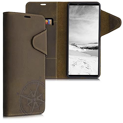 kalibri Wallet Hülle kompatibel mit Sony Xperia 1 III - Hülle Leder - Handy Cover Handyhülle Kompass Vintage Braun
