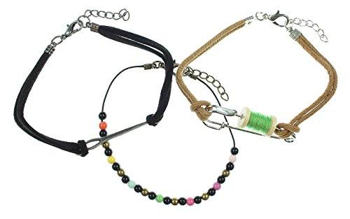 Disney Alice Through The Looking Glass Wonderland MAD HATTER Cord Charm Bracelet Set 3 PK