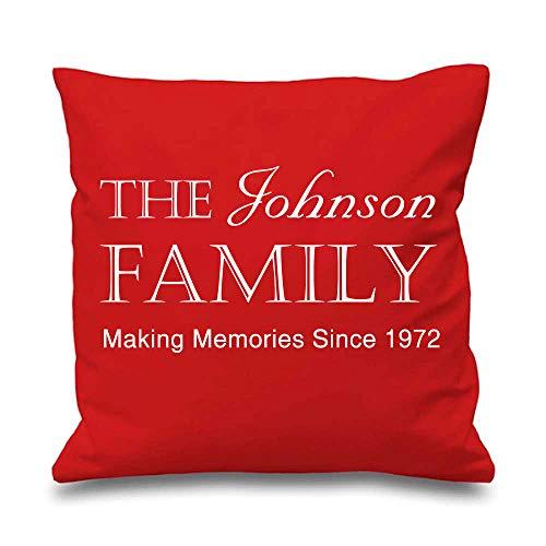 Famille personnalisé Housse de coussin Rouge 40,6 x 40,6 cm New Home Mariage Maman Cadeau Coussin décoratif Maison