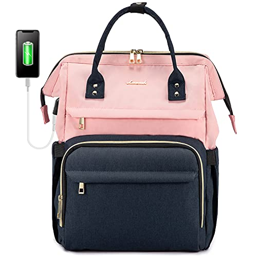 LOVEVOOK Laptop Backpack for Women Fashion Business Computer Backpacks Travel Bags Purse Student Bookbag Teacher Doctor Nurse Work Backpack with USB Port, Fits 17-Inch Laptop Pink Navy