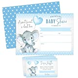 Boy Elephant Baby Shower Invitations, Peanut Baby Shower Invites with Diaper Raffles Cards, Sprinkle, 20 Invites Including Envelopes