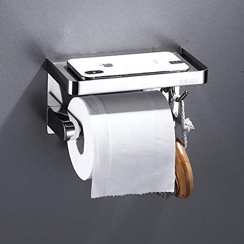 Wookitu Toilet Paper Holder with Shelf and Multipurpose Holder. Anti-Rust Stainless Steel, Anti-Slip Platform, Wall Mounted Dispenser with Large Phone Shelf. Upgrade Your Bathroom Accessories Today!