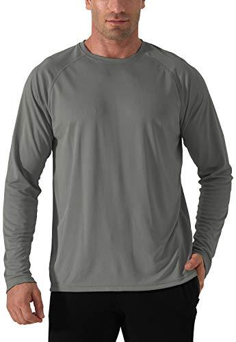 Herren UPF 50+ UV Sonnenschutz Langarm T-Shirt Rash Guards UV Schutz Funktionsshirt Sun Protection T Shirt Outdoor Langarm Shirt Wandershirt Herren Surf Angeln Wandern Shirts Grau