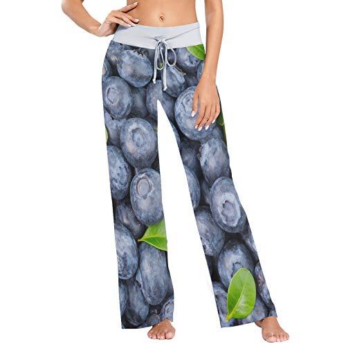 colormu Pantalon de Pyjama pour Femme Pantalon de Sommeil Long Pantalon Large athlétique Fruit Blueberry