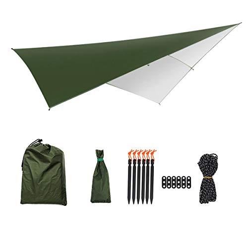 Select Zone Tienda de campaña para exteriores, hamaca portátil, lluvia, impermeable, lona para camping, mochila (color: verde militar con blanco)