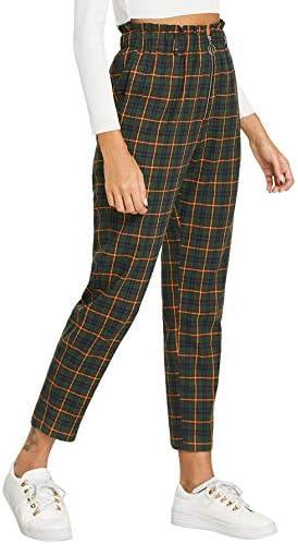 WDIRARA Women s Plaid Tartan Leggings Casual Mid Waist Work Straight Pants Green L product image