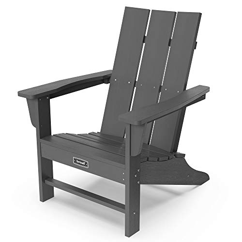 SERWALL Modern Adirondack Chairs Weather Resistant, Gray