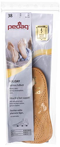 pedag Holiday Leather 3/4 Inserts for Whole Foot Support, Handmade in Germany, Men and Women's Dress Shoes, Flats, Ballet Flats, Real Leather, Tan, 2 Pair, US W 8 / EU 38
