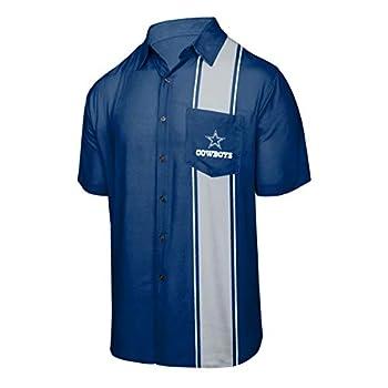 FOCO Dallas Cowboys NFL Mens Bowling Stripe Button Up Shirt - L