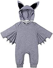 Kids Clothing Autumn Bat Long Sleeve Jumpsuit Baby Halloween Costume with Hat, Height:80cm, Color:Grey Boys Clothing