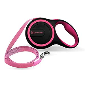 Retractable Dog Leash, 16 ft Dog Leash for Small to Large Dogs Up to 110 lbs, Easy Single Lock/Release Button and Ergonomic Handle, Heavy Duty Tangle-Free Nylon Ribbon Leash (Large, Black+Pink)