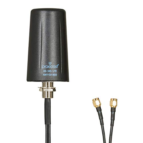 Vandal Resistant MIMO Low Profile 3G/4G/LTE Omni-Directional Screw Mount Antenna - 10 ft Coax Lead - for Cisco, Cradlepoint, Digi, Novatel, Pepwave, Proxicast, Sierra Wireless, and Others
