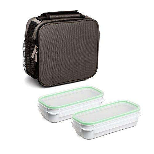 TATAY Urban Food Prime Gris - Bolsa térmica Porta Alimentos con 2 tápers incluidos, 4,7 litros de capacidad, Tela, Gris, 11 x 25.5 x 24.5 cm