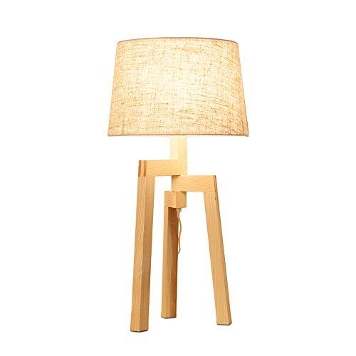 uus Lampe de table solide bois tissu LED chambre lampe de chevet E27 ampoule base 30 * 58cm lumière chaude (économie d'énergie A +) (Couleur : Warm light30*58cm)