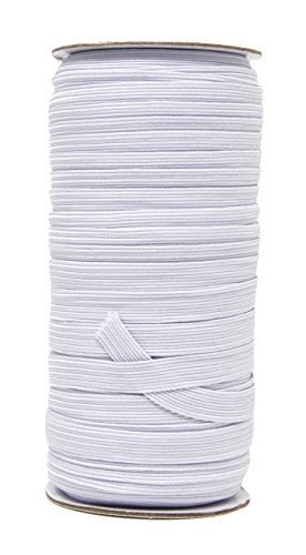 Mandala Crafts Flat Elastic Band, Braided Stretch Strap Cord Roll for Sewing and Crafting (3/8 Inch 10mm 50 Yards, White)