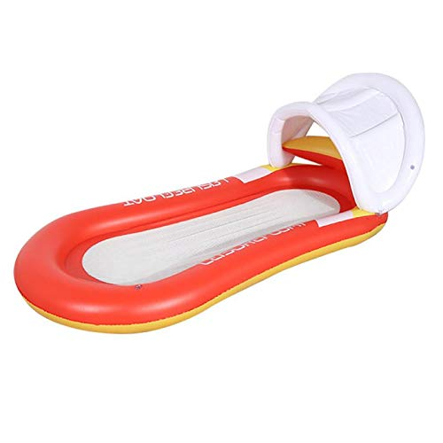 Elikliv - Colchones de natación para adultos, diseño de cama flotante, versión mejorada con toldo solar, color rojo