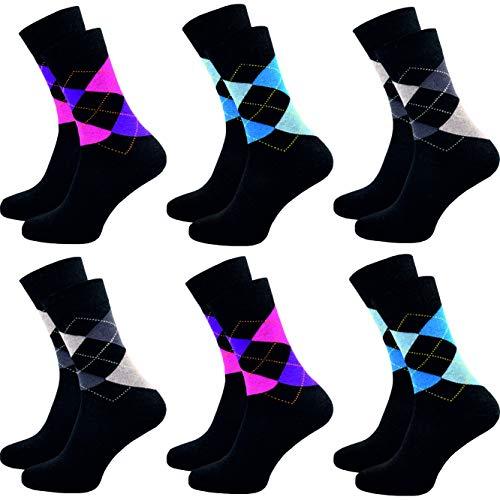 GAWILO 6 Paar bunte – gemusterte – karierte – Damen Socken – hoher Baumwollanteil – pflegeleichter Materialmix (35-38, mix 1)