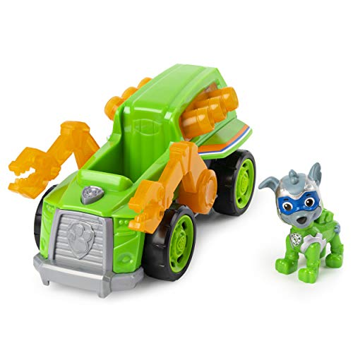 PAW Patrol 6054652 - Mighty Pups Super Paws Recyclingtruck mit Rocky-Figur (Basic Themed Vehicle)