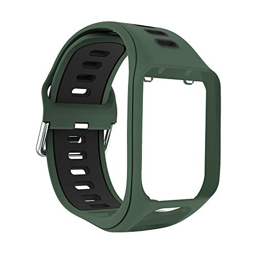 Yivibe Silicone Band Watch Strap Wristband Smart Watch Bracelet Replacement for Tomtom Spark Runner 2 3 Adventurer Golfer 2 Accessories ( Color : Army Green Black )