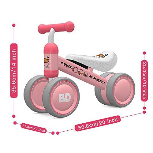 XIAPIA Vélo Bébé sans Pédales Draisienne 10-24 Mois Baby Walker Jouets pour 1 an Bébé Jouet Petit Premier Cadeau Anniversaire Garçon/Fille (Canard Rose) (Rose) (Canard Rose)