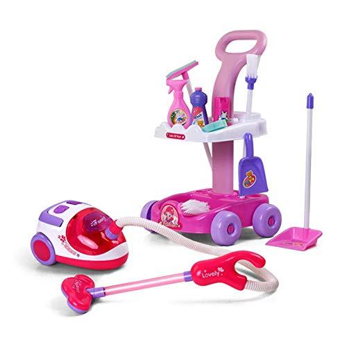 Besenwagen mit Staubsauger für Kinder Set Klein Reinigungs spielzeug Rollenspiel mit Besen Mop Vakumm Sauger Modell