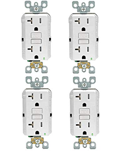 Leviton GFTR2-W Self-Test SmartlockPro Slim GFCI Tamper-Resistant Receptacle with LED Indicator, Wallplate Not Included, 20-Amp, White (4 PACK)
